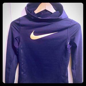 Girl's Nike Long Sleeve Hooded Pullover-Purple Lg